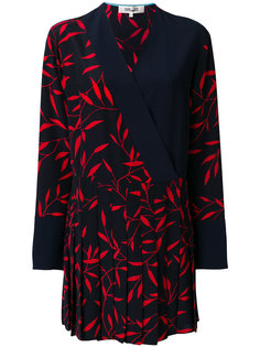 leaf print pleated dress Dvf Diane Von Furstenberg