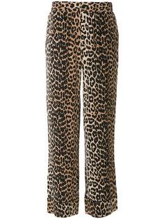 брюки с леопардовым принтом Ganni