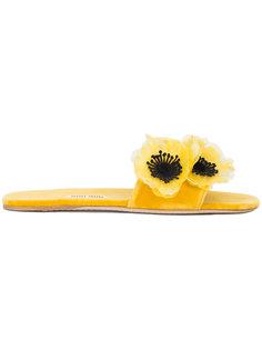сандалии с 3D цветами Miu Miu