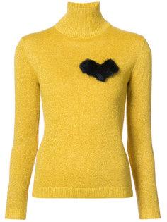 свитер с отворотной горловиной и принтом сердца Shrimps