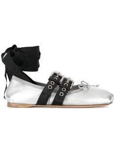 балетки с завязками на щиколотке Miu Miu