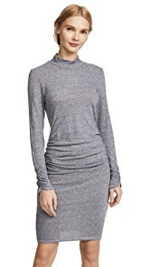Lanston Ruched Mock Neck Dress