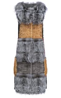 Комбинированный жилет из меха лисы, норки и кролика Virtuale Fur Collection