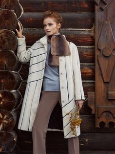 Утепленное пальто из вязаной овчины с кожаной отделкой Virtuale Fur Collection