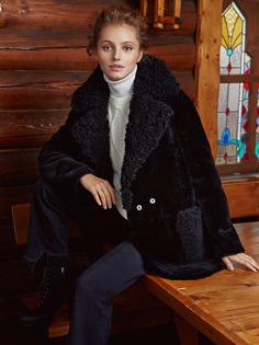 Жакет из овчины с отделкой натуральной кожей Снежная Королева