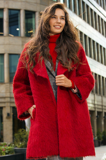 Красное полушерстяное пальто с поясом La Reine Blanche