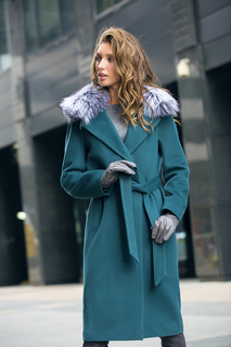 Полушерстяное пальто с отделкой мехом лисы La Reine Blanche