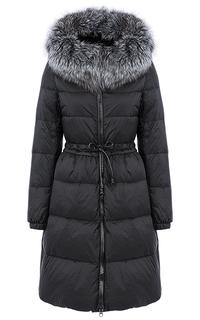 Пальто на искусственном пуху с отделкой мехом чернобурки Acasta