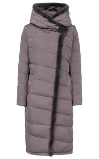 Пальто на искусственном пуху с отделкой мехом норки LE Monique