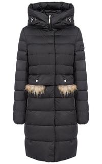 Пальто на искусственном пуху с отделкой мехом енота Acasta