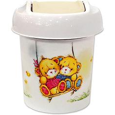 "Мусорная корзина Little Angel ""Bears"" 1 л., круглая (слоновая кость)"