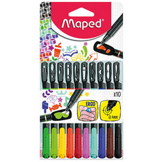 Набор капиллярных ручек GRAPH PEPS MANIA, 10 цветов, 0,4 мм, с трафаретами, Maped