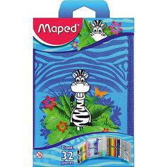 Пенал с наполнением для детей JUNGLE, 32 предмета, Maped