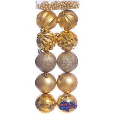 Набор шаров 10*6см + бусы 2м*8мм Magic Story золото