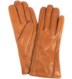 Коричневые кожаные перчатки с шерстяной подкладкой Bartoc