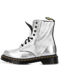 Серебристые кожаные ботинки Dr. Martens