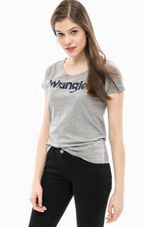 Серая футболка с логотипом бренда Wrangler