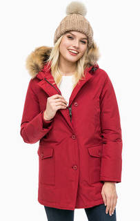 Красный хлопковый пуховик с капюшоном Canadian