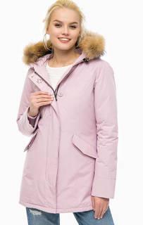 Розовый хлопковый пуховик с капюшоном Canadian