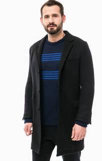 Черное шерстяное пальто с карманами Drykorn