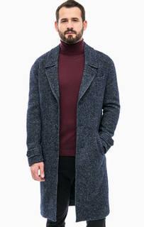 Синее шерстяное пальто с карманами Drykorn