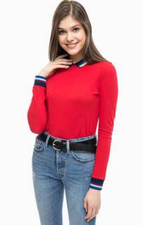 Красная футболка поло с длинными рукавами Lacoste