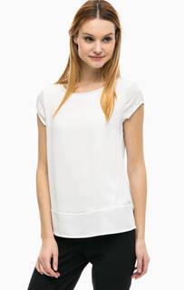 Белая блуза с разрезами по бокам Comma