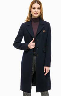Синее пальто с высоким содержанием шерсти Comma