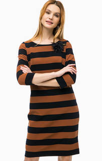 Платье в широкую полоску с брошью Comma