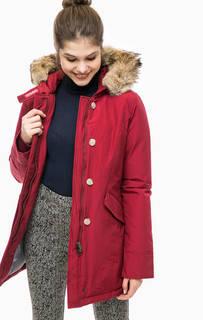 Удлиненный пуховик красного цвета Woolrich