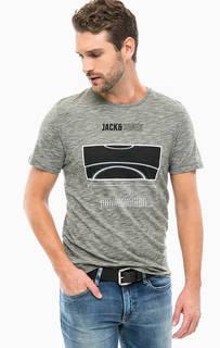Серая хлопковая футболка с принтом Jack & Jones
