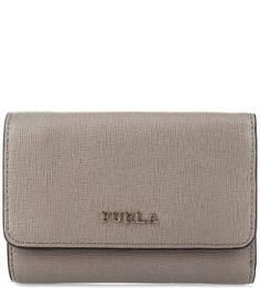 Серый кошелек из сафьяновой кожи Furla