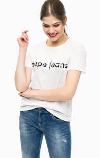 Белая футболка с принтом Pepe Jeans