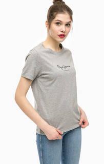 Хлопковая футболка с логотипом бренда Pepe Jeans