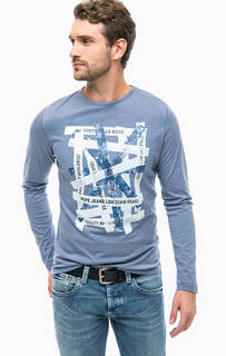 Синяя футболка длинным рукавами Pepe Jeans