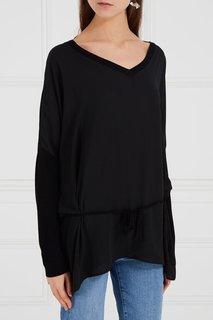 Блузка с трикотажной спинкой черная Adolfo Dominguez