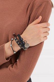 Кожаный браслет с черепом Alexander Mc Queen