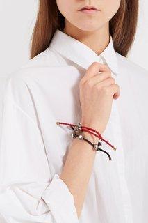 Красный браслет-шнурок с подвесками Alexander Mc Queen
