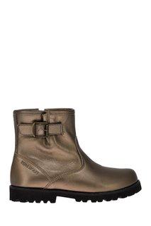 Кожаные ботинки с металлизированной отделкой POM Dapi
