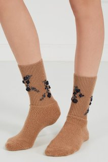 Коричневые шерстяные носки с вышивкой No.21