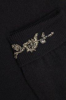Черный джемпер с вышивкой на манжетах No.21