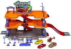 Игровой набор Welly «Гараж» с 3 машинами и вертолетом