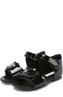 Лаковые босоножки с бантом и подвеской Dolce & Gabbana