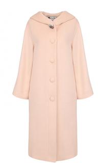 Однотонное шерстяное пальто с капюшоном Lanvin