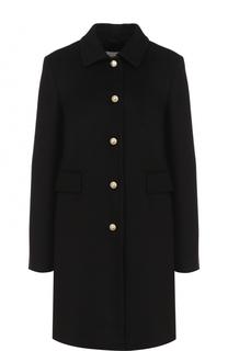 Шерстяное пальто с отложным воротником и жемчужными пуговицами Gucci