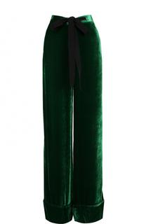 Бархатные широкие брюки с кружевными лампасами Elie Saab