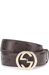 Кожаный ремень с тиснением Signature и фигурной пряжкой Gucci