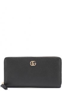 Кожаное портмоне на молнии с логотипом бренда Gucci