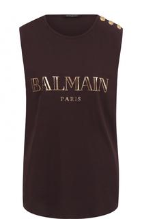 Хлопковый топ прямого кроя с логотипом бренда Balmain