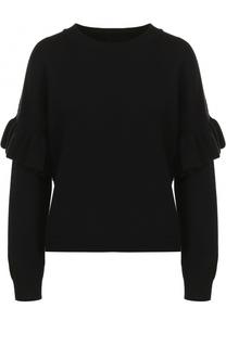 Шерстяной пуловер с круглым вырезом и оборкой BOSS